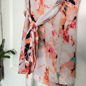 Ava & Viv Tops - Watercolor Floral Tunic with Sash
